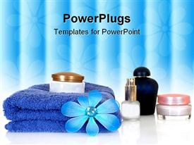 PowerPoint template displaying spa essentials in blue reflective surface in the background.