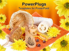 PowerPoint template displaying a number of products being used in spa