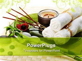 PowerPoint template displaying spa towels, tea light, bamboo, incense