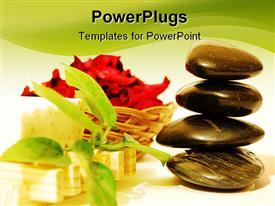 PowerPoint template displaying spa stones with leaves, handmade soap, leafs and red flowers on a white background