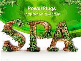 PowerPoint template displaying wooden letters with vines spelling spa