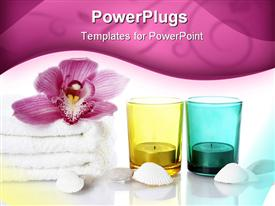 PowerPoint template displaying candles in yellow and blue glass cups with flower on white towel