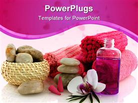 Wellness in pink with orchid and liquids powerpoint template