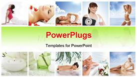 PowerPoint template displaying spa and health collages made of some bright depictions