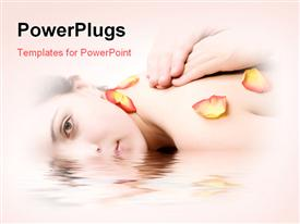 PowerPoint template displaying back massage with rose-leaf