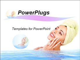 PowerPoint template displaying beautiful young woman relaxing in spa