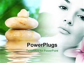 PowerPoint template displaying a girl with a number of zen stones and water