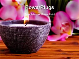 PowerPoint template displaying a candle with flower petals in the background