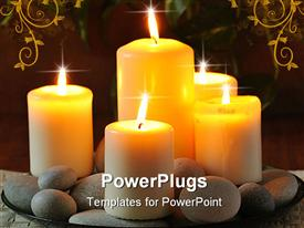 PowerPoint template displaying still life with white burn candles and pebbles in the background.
