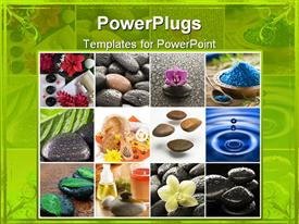 PowerPoint template displaying spa Zen natural collage with stones, flowers, water, candles, bottles, green border