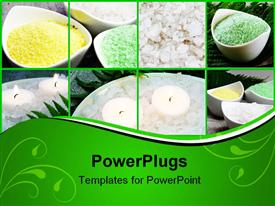 PowerPoint template displaying sea White Green and Yellow Salt Spa Collage in the background.