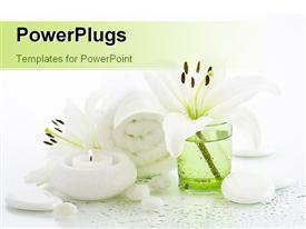 PowerPoint template displaying a candle with a towel and some pebbles all in white