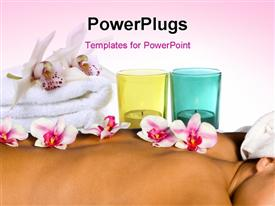 PowerPoint template displaying a girl during spa time with a lot of flowers on her back
