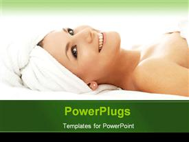 PowerPoint template displaying pretty smiling female lying with a head towel warped
