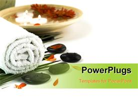 PowerPoint template displaying spa setting with white towel pebbles candles and flowers on white with copy space (with sample text) in the background.