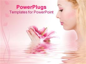 PowerPoint template displaying beauty blonde spa girl with pink lily in water