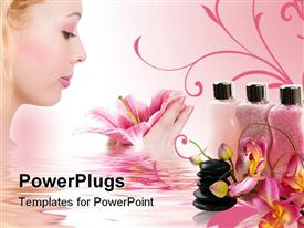PowerPoint template displaying spa salts lotion orchid and healing stones in the background.