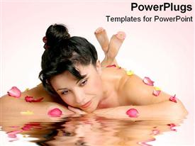 PowerPoint template displaying woman lays on reflective surface with flowers in spa-like room