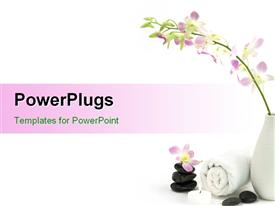 PowerPoint template displaying spa stones and flowers with white towel on plain white surface