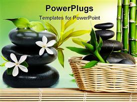 PowerPoint template displaying bamboo frame with stones on the mat in the background.