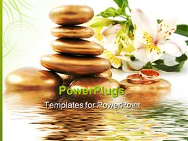 PowerPoint template displaying spa stone weddings rings and lily with water in the background.