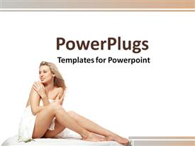 PowerPoint template displaying a beautiful lady with white background