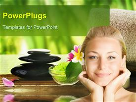 PowerPoint template displaying a girl ready for spa with all the materials ready