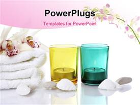PowerPoint template displaying white oyster shells and towel with candles in colored glasses