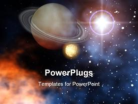 PowerPoint template displaying ringed planet Saturn with moon stars and sun outer space scene