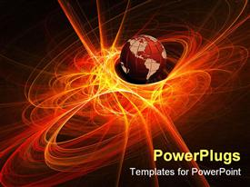 PowerPoint template displaying earth globe world in orange light rays, black background