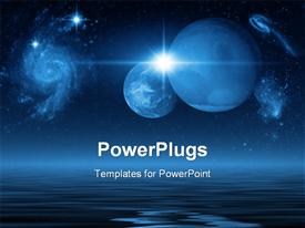 PowerPoint template displaying space Scene in the background.