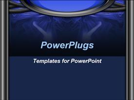 PowerPoint template displaying blue and black technology background, science, research and development