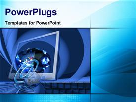 PowerPoint template displaying a computer screen with bluish background