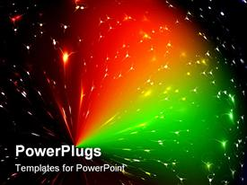 PowerPoint template displaying beautiful array of scattered multi colored green and red lights