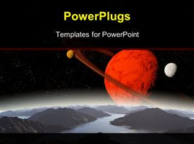 PowerPoint template displaying abstract background of deep space. In the far future travel. New technologies and resources in the background.
