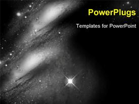 PowerPoint template displaying aSpace Travel background with stars and galaxy in black and white