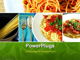PowerPoint template displaying set collection of Italian spaghetti food series in the background.
