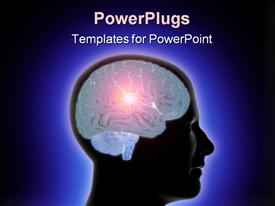 PowerPoint template displaying profile of human head with glowing brain