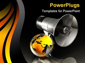 PowerPoint template displaying abstract depiction of large black mega phone with a gold colored globe