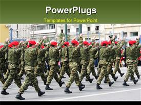 PowerPoint template displaying troop of special forces marching in a military parade in the background.
