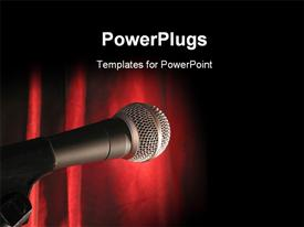 Microphone in the spotlight with a red stage curtain template for powerpoint