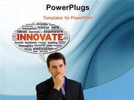 PowerPoint template displaying business man with hand on chin and speech bubble with innovative terms