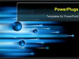 PowerPoint template displaying blue electrons and blurred lights forming sabers of speed and motion