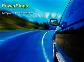 PowerPoint template displaying a car with a road and bluish background