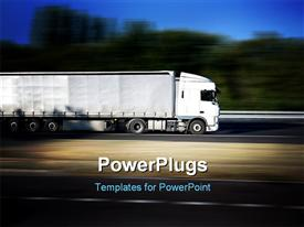 PowerPoint template displaying white semi-trailer traveling on a highway in the background.