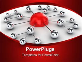 PowerPoint template displaying 3D diagram with half red sphere linked to silver small spheres connected to each other