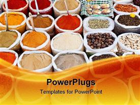 PowerPoint template displaying market with colorful powders, cereals and spices