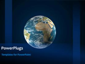 PowerPoint template displaying rolling earth globe on animated blue background with stars
