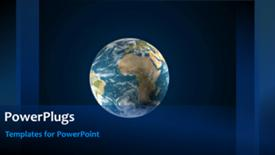 PowerPoint template displaying rolling earth globe on animated blue background with stars - widescreen format