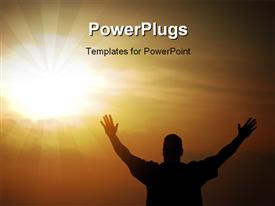 PowerPoint template displaying a person praying to the Lord with sun in the background